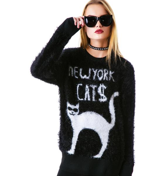 Halfman Romantics New York Cats Knit Sweater