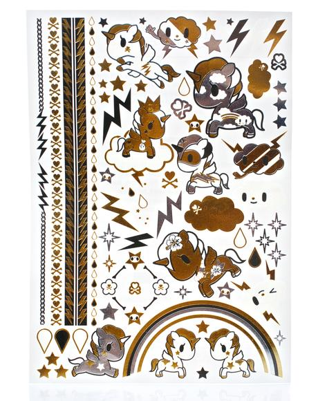 X Tokidoki Metallic Tattoo Set