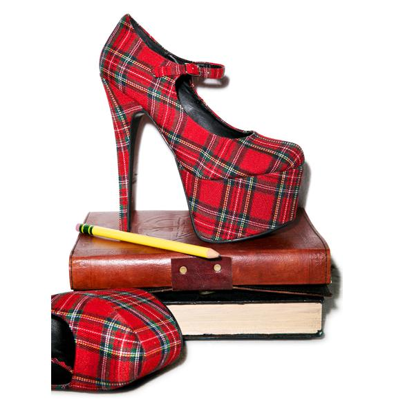 Take My SATs Plaid Heels