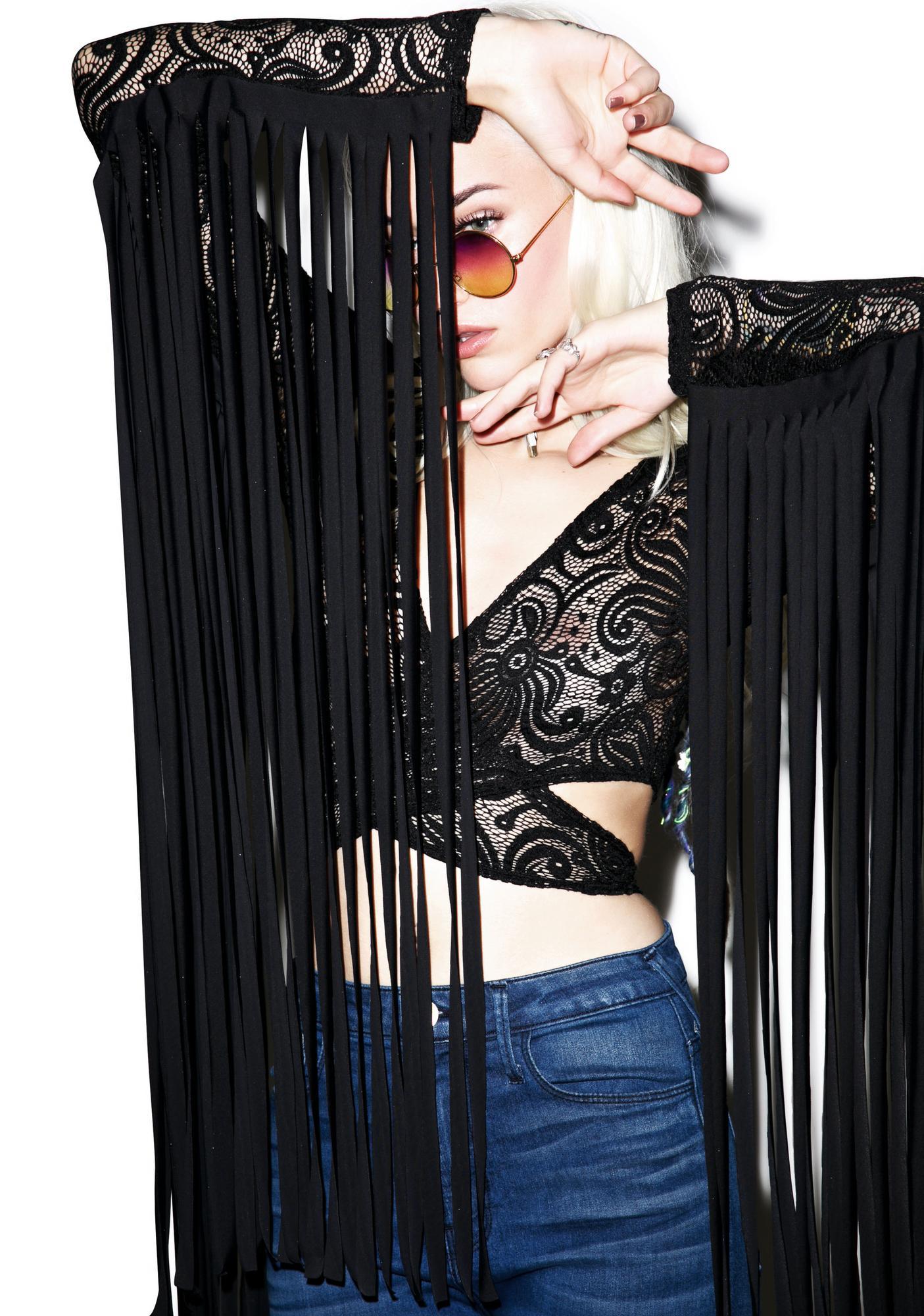 J Valentine Dark Widow Fringed Long Sleeve Top