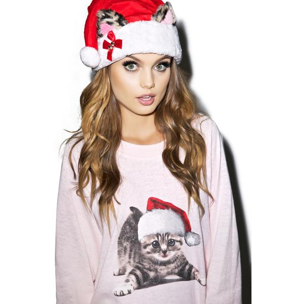 Wildfox Couture Meowy Christmas Kim's Sweater