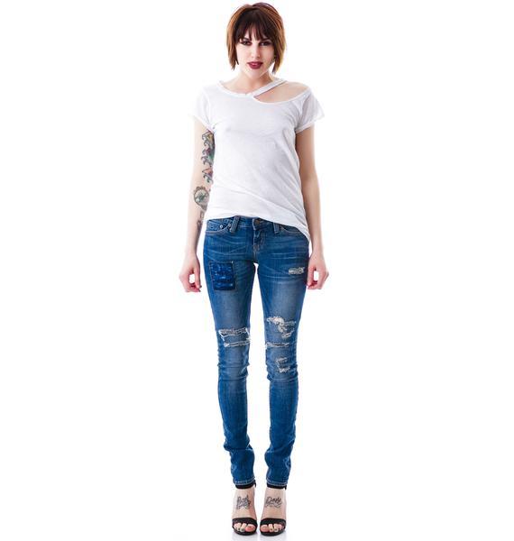 JET by John Eshaya Thrashed Patch Skinny Jean
