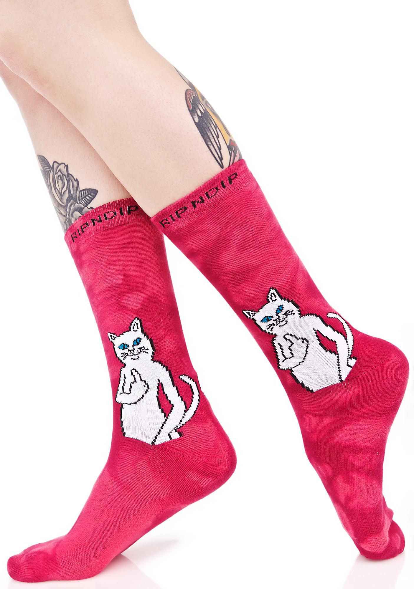 RIPNDIP Pink Catfish Socks