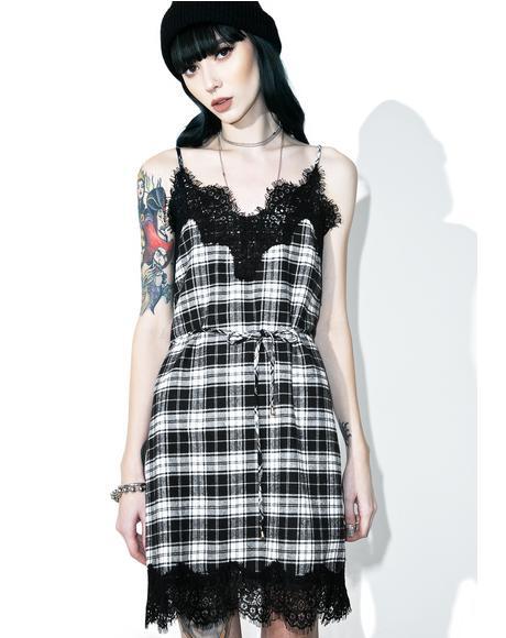 Falling Out Plaid Slip Dress