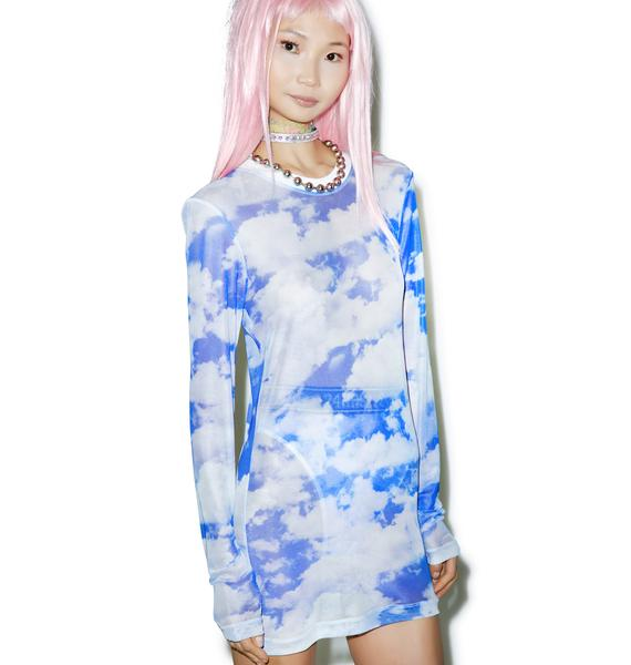 24HRS X Dolls Kill Caught In Clouds Long Sleeve Dress