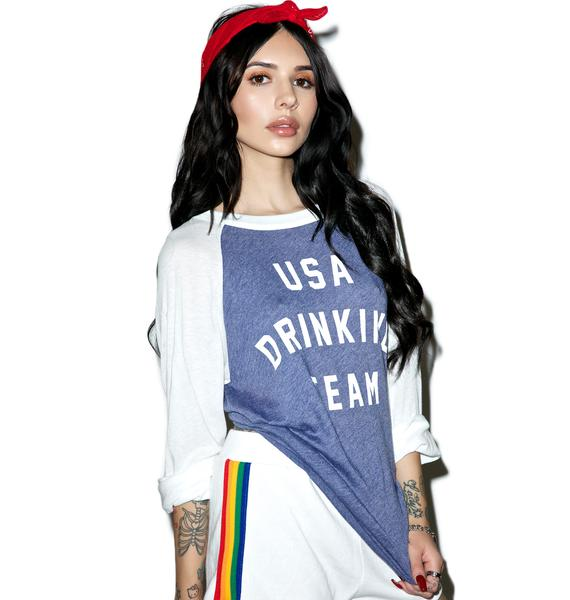 Wildfox Couture USA Drinking Team Rebel Raglan