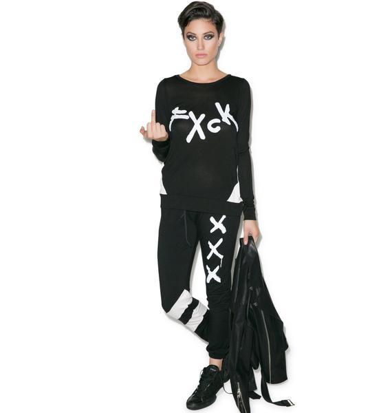 Lauren Moshi Bea Fxck Long Sleeve Top