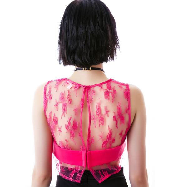So You Pink Sheer Bustier Top