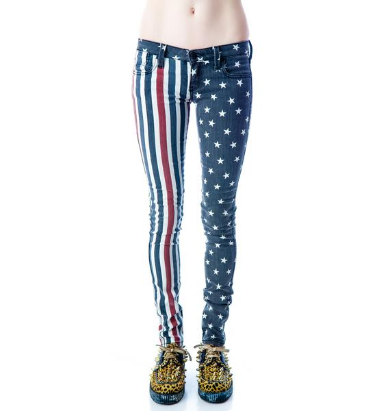 Frankie B Stars And Stripes Skinny Jeans