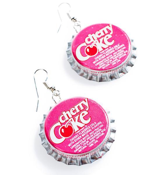 Cherry Bottle Cap Earrings