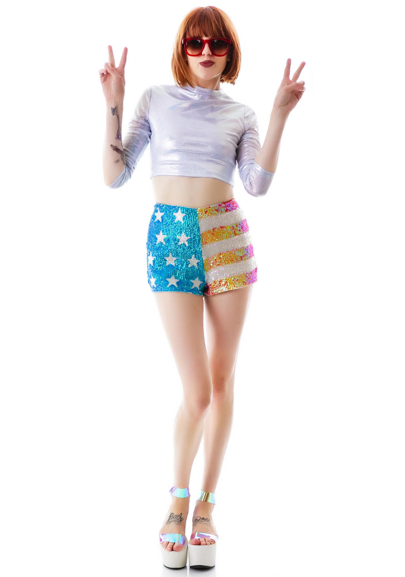 Wildfox Couture American Glitter Sequin Shorts