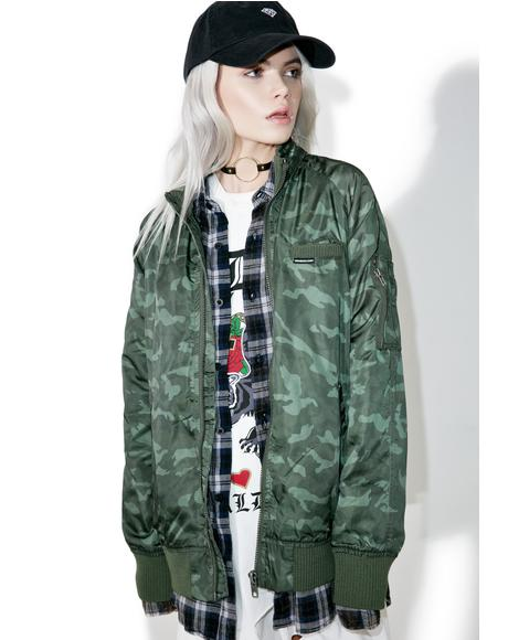 Washed Camo Boyfriend Jacket