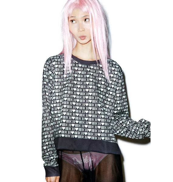 Wildfox Couture Bitch Heart Pop Art Sweater