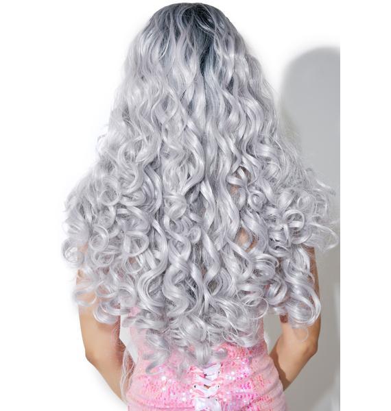 Rockstar Wigs Silver Root-Fade Curly Wig