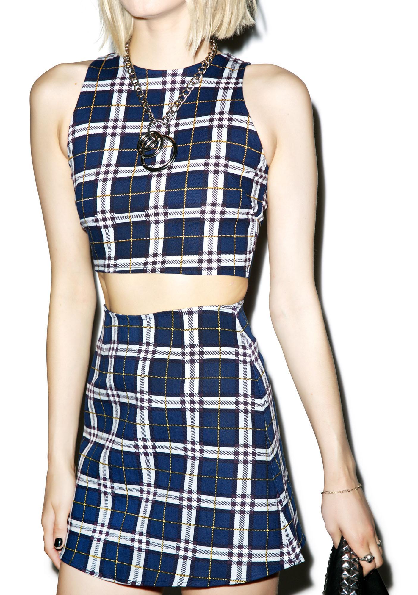 Motel Plaid Annie A-Line Skirt