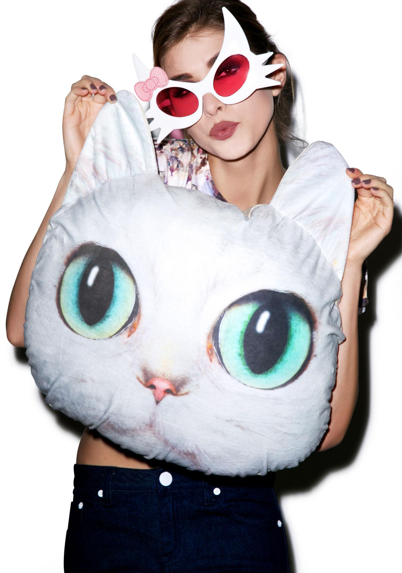 White Cat Pillow