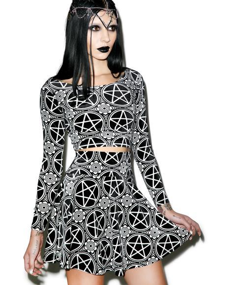 Pentagram Velvet Skater Skirt