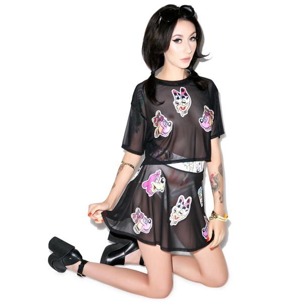 Coveted Society Round Skirt Acid Patches