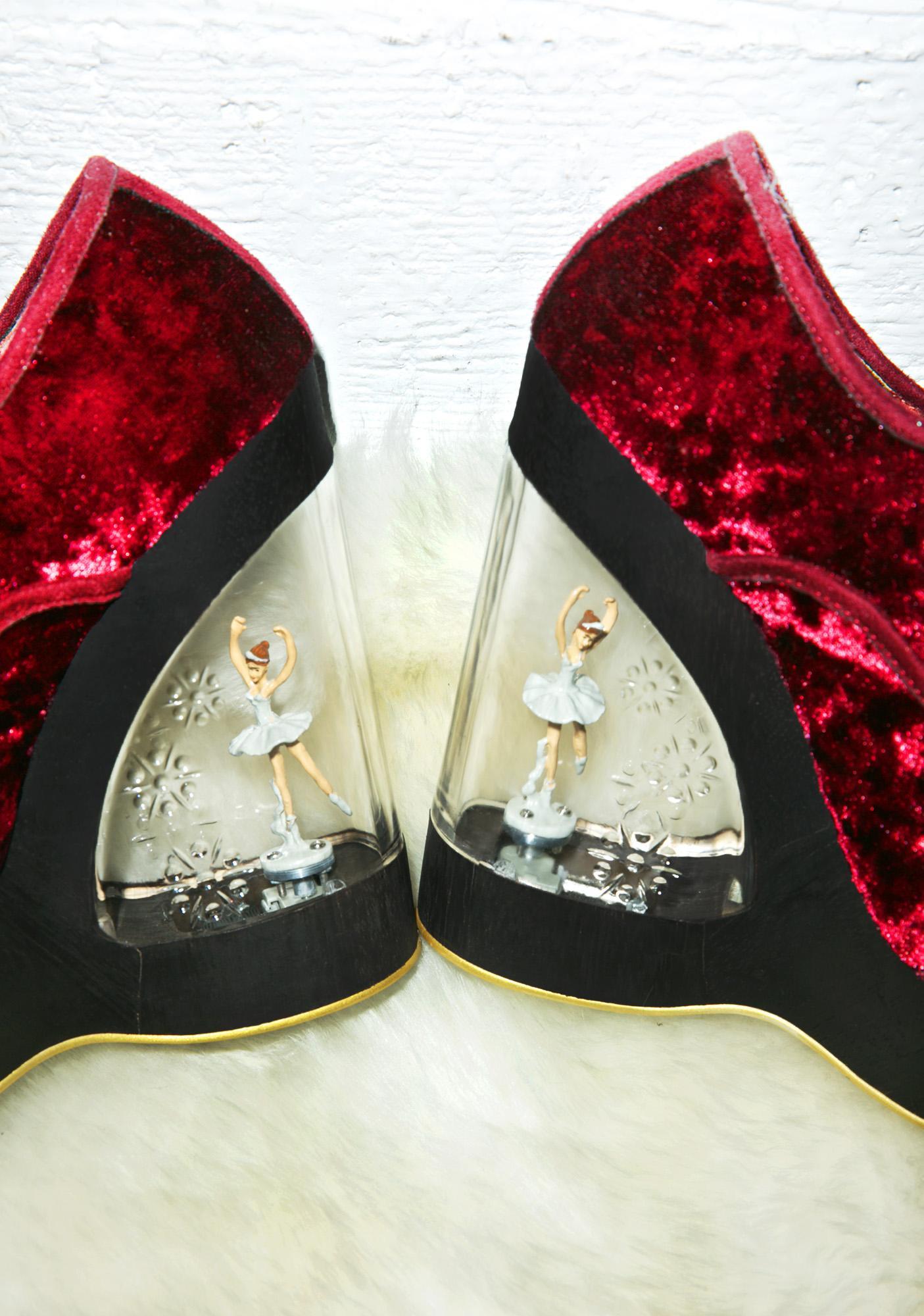 Irregular Choice Glissade Ballerina Wedges in Burgundy
