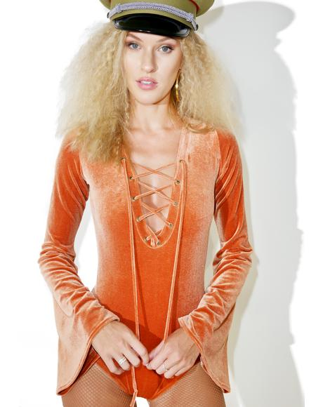 Bell Sleeve Lace-Up Bodysuit