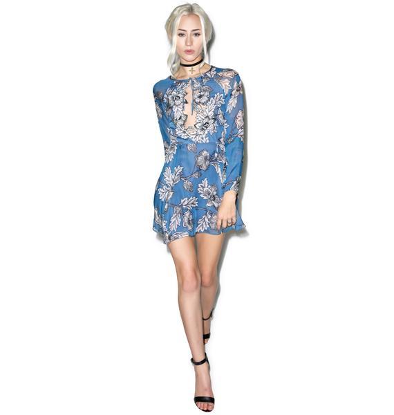 For Love & Lemons Vintage Blue Sierra Mini Dress