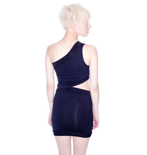 Quontum Black Diagonal Cutout Dress