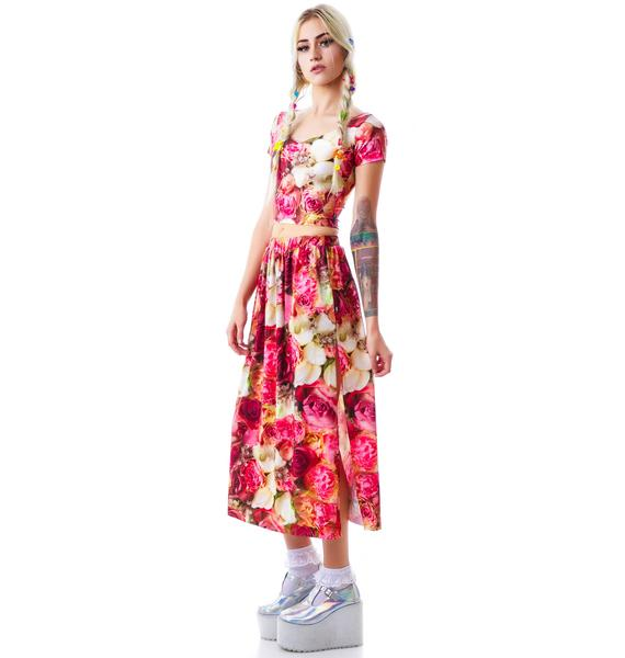 Zara Terez Pink Flower Patch Maxi Skirt