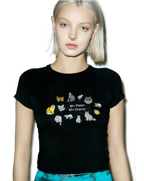 My Pussy My Choice Embroidery Crop Tee