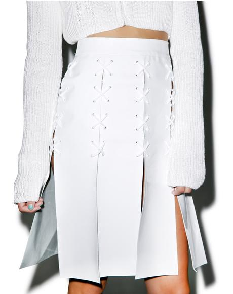 Cross Eyelet Patent Leather Skirt