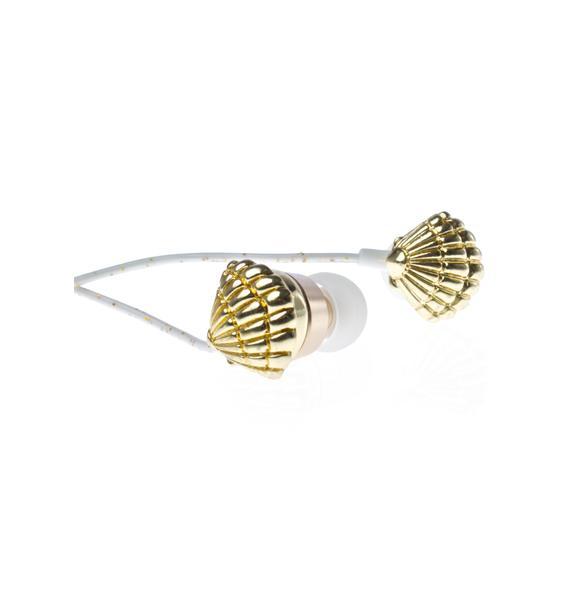Skinnydip Gold Shell Earbuds