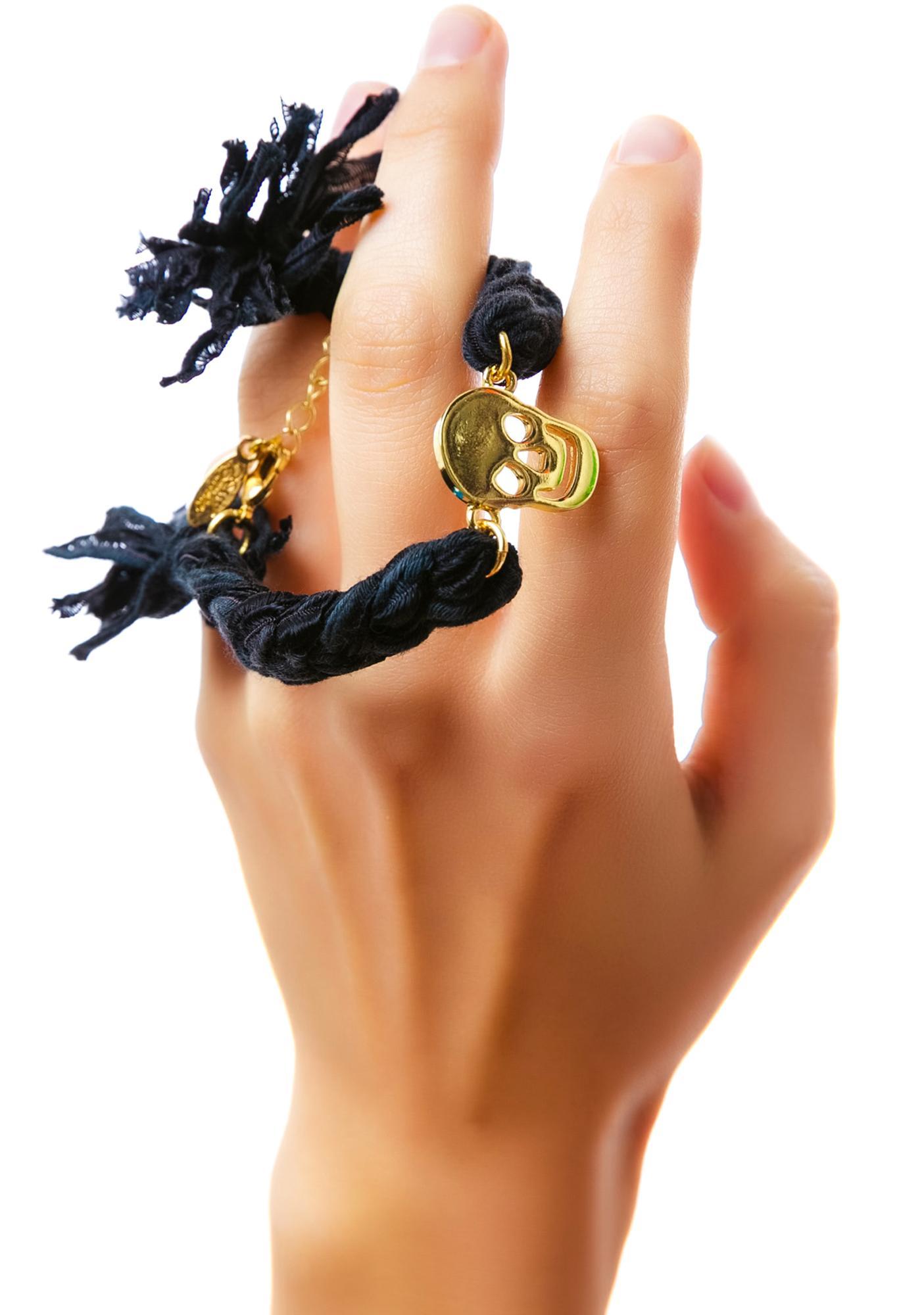 Ettika Vintage Skull Ribbon Braided Bracelet