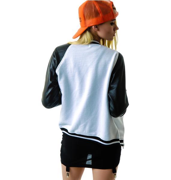 JET by John Eshaya Perforated Leather Baseball Jacket