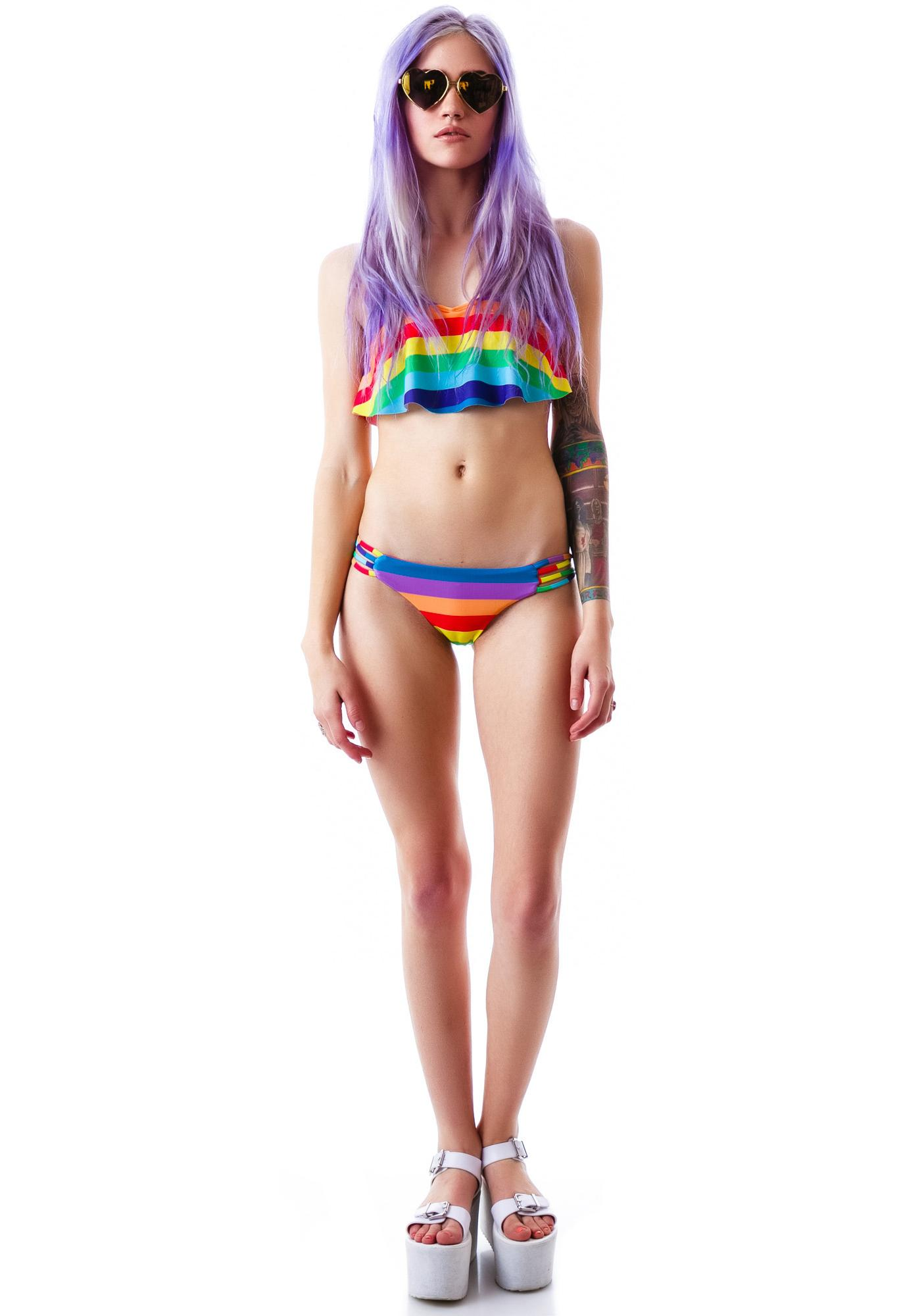 Wildfox Couture 70's Rainbow Reversible Criss Cross Brazilian Bottom