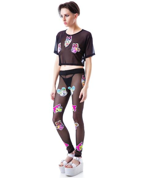 Worped on Acid Patched Mesh Leggings