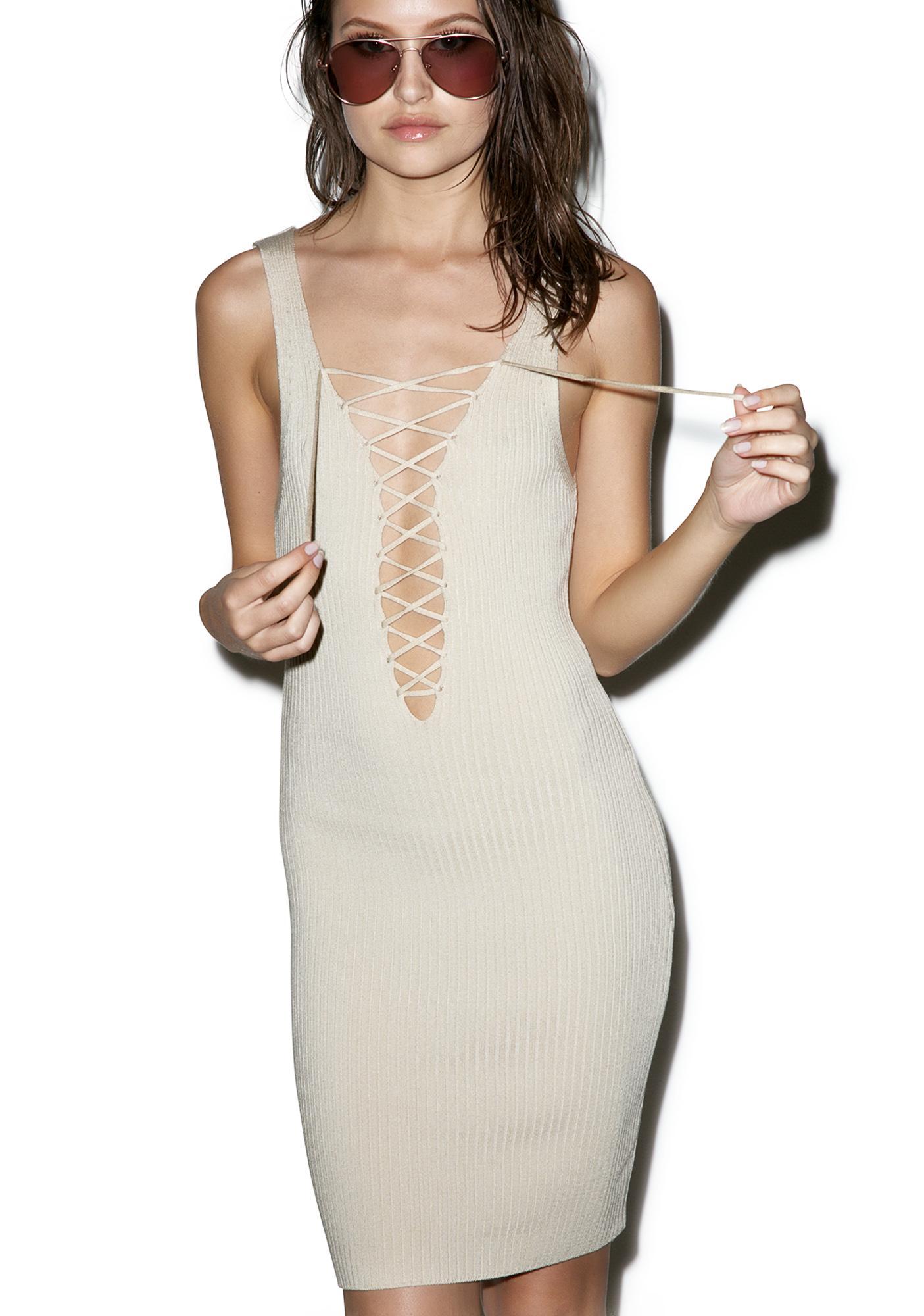 Café Au Lace Up Dress