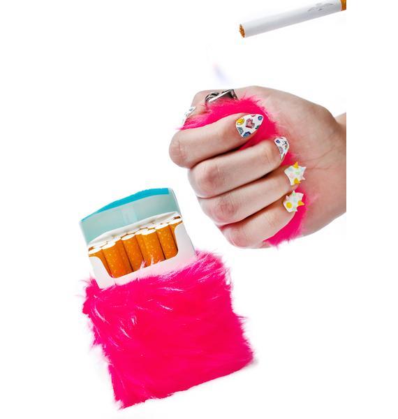 Kerenika Kandi Krush Pink Lighter & Cigarette Fur Case Set