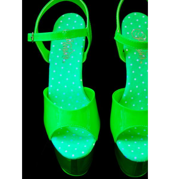 Pleaser Slime Glow In The Dark Platform Heels
