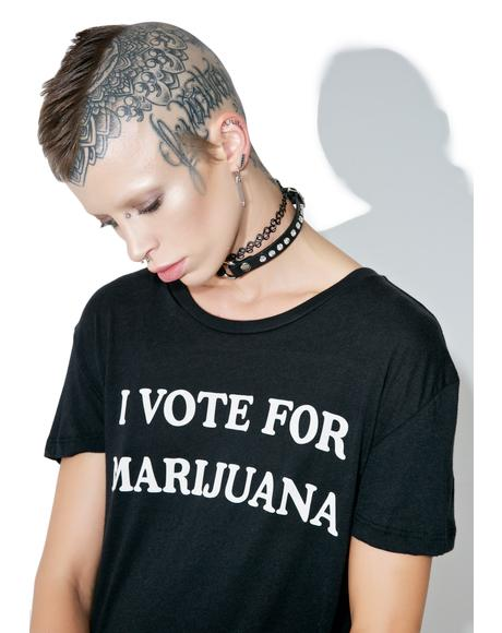 I Vote For Marijuana Tee