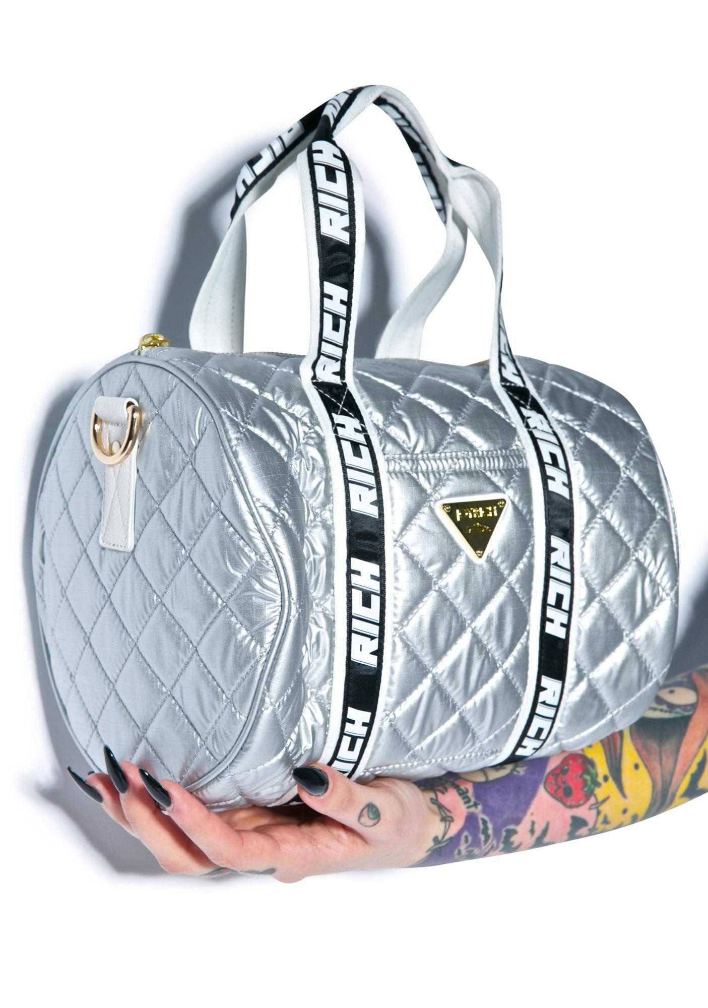 Joyrich Silver Sheen Shoulder Boston Bag