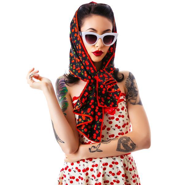 Sourpuss Clothing Bad Girl Scarf Cherries