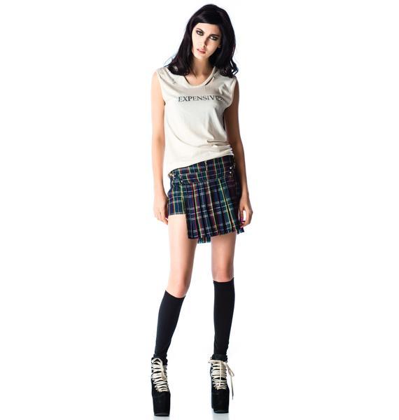 Lip Service Exploited Plaid Studded Skirt