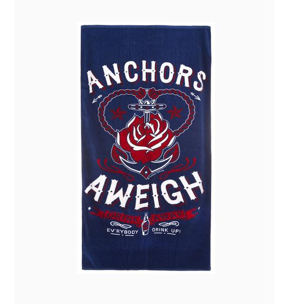 Sourpuss Clothing Anchors Aweigh Beach Towel