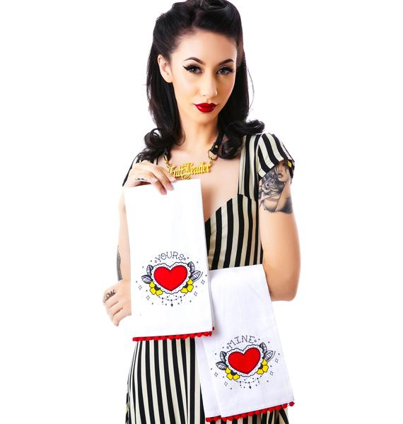 Sourpuss Clothing Yours Mine Tea Towel