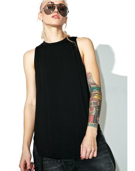 Black Solid Muscle Tank