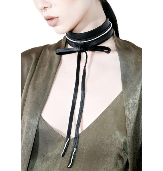 WREN AND GLORY Thick Leather Tie Choker