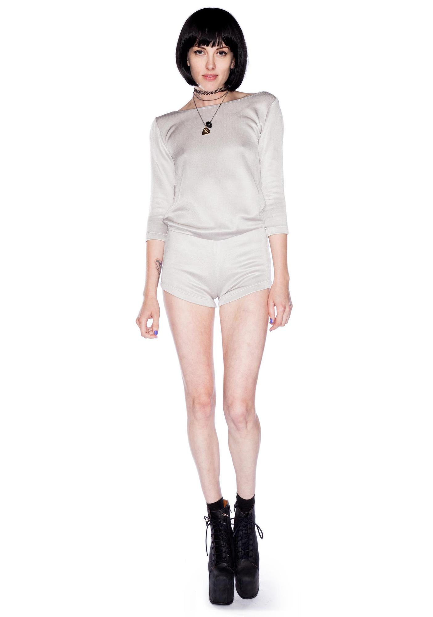 AGAIN Savage Backless Sweater Romper