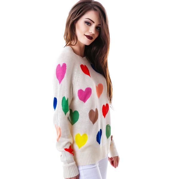 Wildfox Couture Mod Pop Hearts 70's Sweater