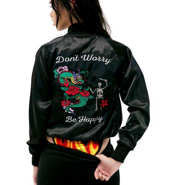 Valfré Jet Black Don't Worry Satin Jacket