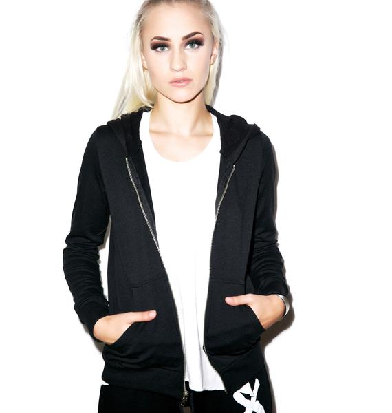 Lauren Moshi Lennon Metal Stud Lightning Zip Up Hoodie