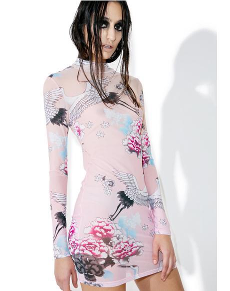 Ombre Crane Mesh Mini Dress